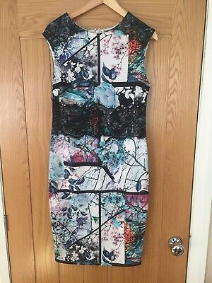 Lipsy Stunning Black / Multicoloured Floral Bodycon Dress Size 16 • 5.99£