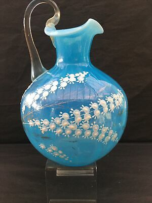 Large Victorian Turquoise Opaline Glass Jug With White Enamelled Flowers • 17.10£