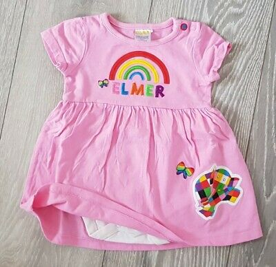 Baby Girl 3-6 Months TU Bright Pink Elmer Rainbow Dress With Integrated Vest • 1.99£