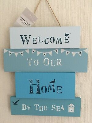 BEACH HOUSE - Welcome To Our Home By The Sea Wooden Sign/Plaque  HOLIDAY COTTAGE • 5£