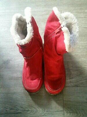 Ladies Pavers Red Faux Fur Lined Boots Size 5 UK 38 Eur • 6£