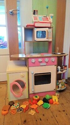 Pink Wooden Play Kitchen With ELC Till, Washing Machine And Food Accessories. • 25£