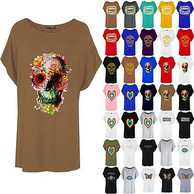 Womens Ladies Floral Skull Printed Halloween Oversized Batwing Baggy T Shirt Top • 4.99£