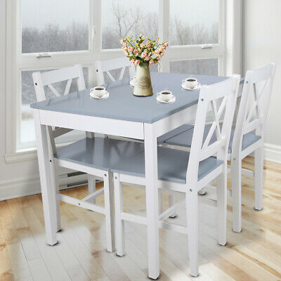£214.64 • Buy Rectangle Dining Table And 4 Chairs Set Seat Kitchen Dinning Room White & Grey