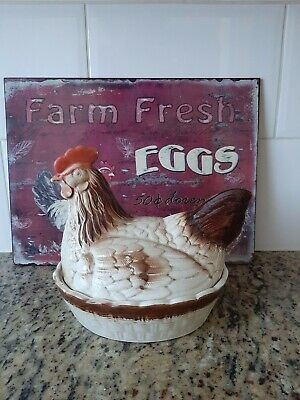 Vintage Pottery Hen On A Basket & Tin Advert Farm Eggs - Egg Store Holder.  • 40£