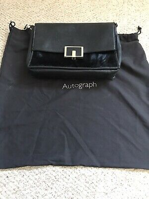 M&S Autograph Black Leather Womens Shoulder Bag • 4.50£