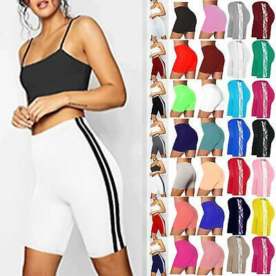 Womens Ladies Active Gym Tights Pants Hot Pant Sports Side Stripe Cycling Shorts • 3.49£