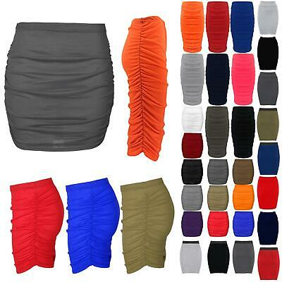 Womens Mini Length Skirt Ladies Bodycon Fit Plain Stretchy Side Ruched Plus Size • 2.99£