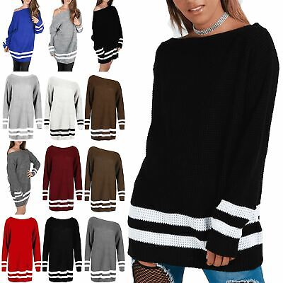 Womens Ladies Chunky Knit Off The Shoulder Bardot Oversized Baggy Jumper Dress • 7.57£
