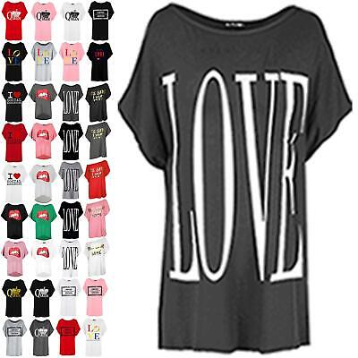 New Womens Round Neck Oversized Batwing Love Printed Ladies Baggy Tops T Shirt • 4.99£