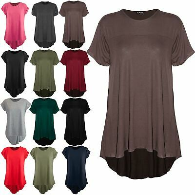 Womens Ladies Baggy Oversized Dipped Hem T Shirt Top High Low Swing Mini Dress • 7.49£