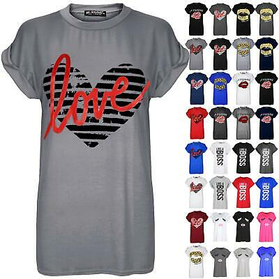 Womens Ladies Heart Love Print Turn Up Cap Sleeve Baggy Casual T-Shirt Tee Top • 2.99£