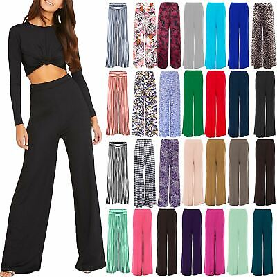 Womens Baggy Wide Legged Stretchy Trousers Pants Flared Ladies Palazzo Leggings • 5.99£