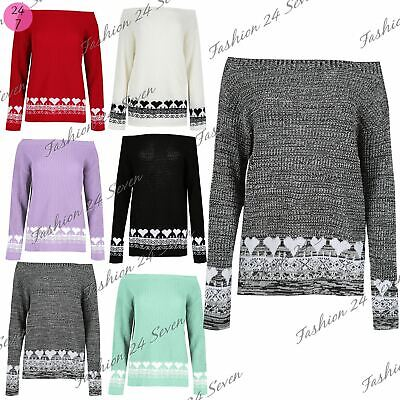 Womens Ladies Chunky Knitted Hearts Off The Shoulder Baggy Jumper Pullover Top • 11.49£