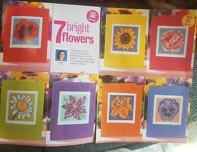 CHARTS ONLY Seven Bright Flowers Cross Stitch Patterns • 0.99£