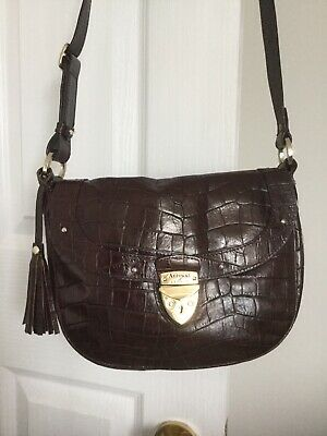 Aspinal Of London Portabella Mock Croc Leather Saddle Bag. • 85£