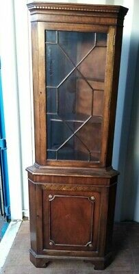 Vintage Mahogany Glazed Single Door Corner Cupboard  • 25£