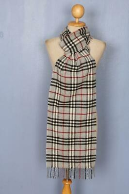 BURBERRY Scarf Grey Check Cashmere Authentic • 1.20£