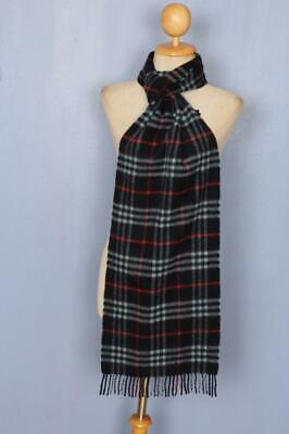 BURBERRY Scarf Navy Check Cashmere Authentic SHORT • 0.99£