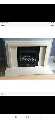 Solid Marble Contemporary Fire Surround With Gas Coal Effect Fire • 50£