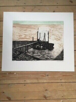 Private Jetty By Charles Bartlett, Signed Colour Etching, Mid Century Modern • 250£