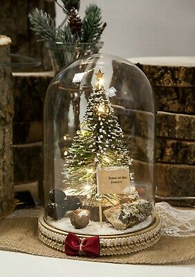 Christmas Tree Glass Dome Bell Cloche Jar LED Lights Christmas Table Centrepiece • 42.99£