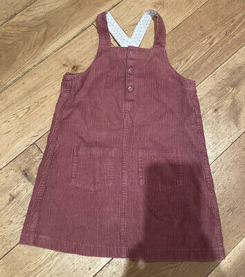 M&S Marks & Spencer Girls Dungaree Dress Cord Pink Great Condition Age 5-6 • 3£