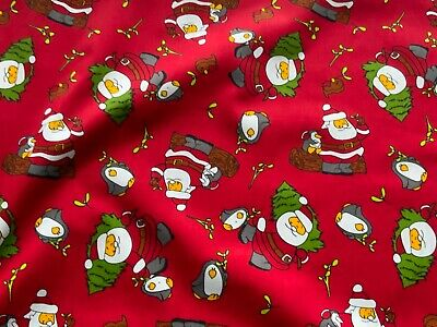 Christmas Santa Fabric 100% Cotton Material   * Red *. FREE POST • 4.95£