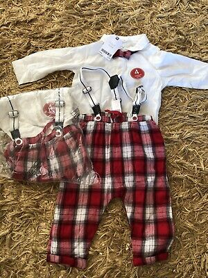 BNWT Next Twin Boys Matching Christmas 4 Piece Outfits 6-9 Months • 20£