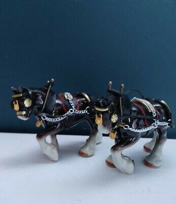 Vintage Pair Of Ceramic Shire Horse Ornament Figurines - 4.5  Height • 18.99£