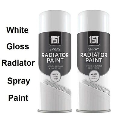 2 X Radiator Spray Paint Quick Dry Resistant Non Yellowing White Gloss - 200ml • 7.85£