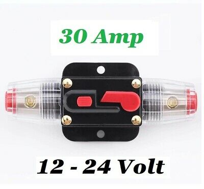 £14.99 • Buy 12V 24V 30A Circuit Breaker Trip Switch Inline Circuit Protection Fuse Car Boat