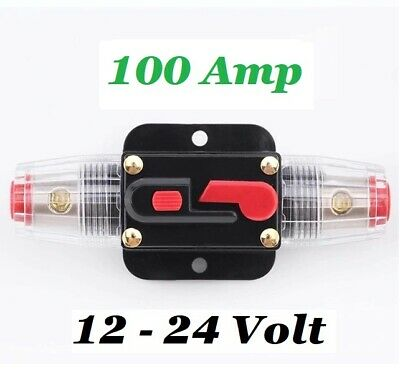 £16.99 • Buy 12V 24V 100A Circuit Breaker Trip Switch Inline Circuit Protection Fuse Car Boat