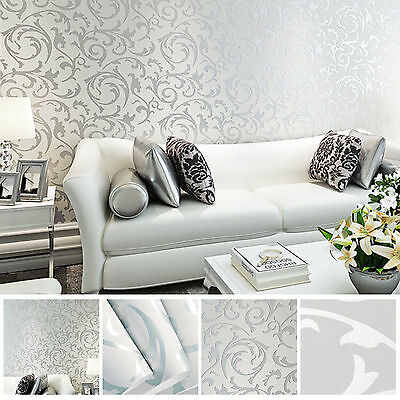 3D Victorian Damask Luxury Embossed Wallpaper Roll - Silver & Grey Design • 5.99£
