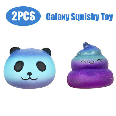 AU16.33 • Buy 2PCS Galaxy Panda & Poo Baby Cream Scented Squishy Slow Rising Squeeze Kids Toy
