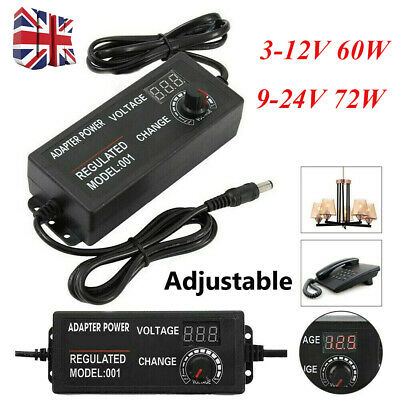 Adjust AC/DC 3V-24V Electric Power Supply Adapter Charger Variable Voltage 2Type • 8.99£