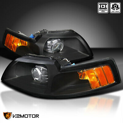 $123.86 • Buy Fits 1999-2004 Ford Mustang Black Projector Headlights Lamps Left+Right 99-04