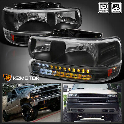 $106.38 • Buy For 1999-2002 Silverado 2000-2006 Tahoe Suburban Black Headlights+LED Bumper