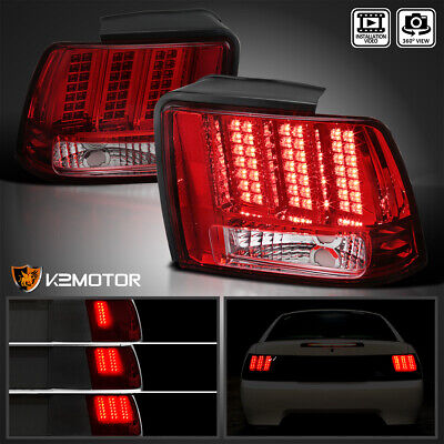 $128.38 • Buy Fits 1999-2004 Ford Mustang Red Tail Lights Sequential LED Signal Brake Lamps