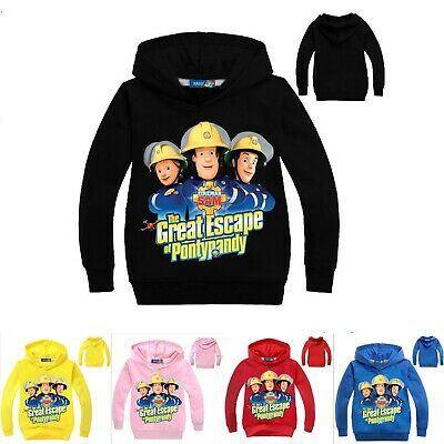 Boys Girls Fireman Sam Pullover Sweatshirt Long Sleeve Hooded Hoodie Jumper Tops • 7.69£