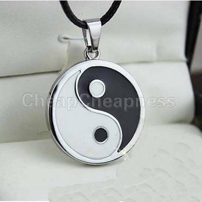 AU9.81 • Buy Yin Ying Yang Pendant Black White Necklace Charm With Black Leather Cord B,S*