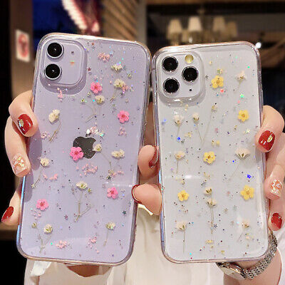 AU6.09 • Buy For IPhone 13 12 Mini 11 Pro Max XS 7 8 XR Glitter Dried Flower Clear Case Cover