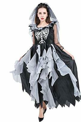 Forever Young Deluxe Ladies Zombie Bride Costume Adult Day Of The Dead Skeleton • 32.99£