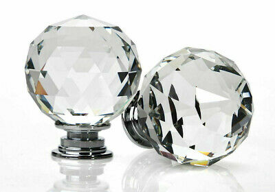 Clear Crystal Diamond Glass Door Knobs Cupboard Drawer Furniture Handle Cabinet • 5£