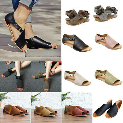 Womens Gladiator Ankle Strap Sandals Summer Beach Roma Style Flats Shoes SizeS • 13.79£