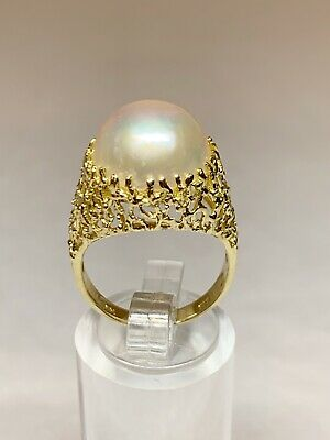 $549 • Buy 13mm Mabe Pearl 14K Yellow Gold Ring Genuine Lustrous White Szable 6 EUC