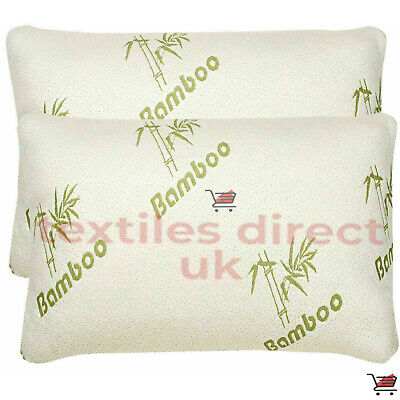2 X BAMBOO MEMORY FOAM HOLLOWFIBER FILLING PILLOW, ANTI-BACTERIAL SUPPORT PILLOW • 14.95£