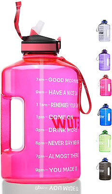 £16.10 • Buy ETDW Half Gallon Motivational Water Bottle With Straw Clean Brush, 2.2Litre BPA