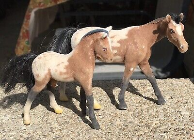 Vintage Appaloosa Flocked Hollow Plastic Model Horses (2) Mare And Foal #GT449 • 6.83£