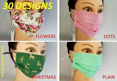 Face Mask Virus 30 Designs Christmas Flowers Dots 100%Cotton Washable Made In UK • 4.50£